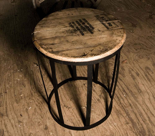 Old Wood Bourbon Barrel Top Table
